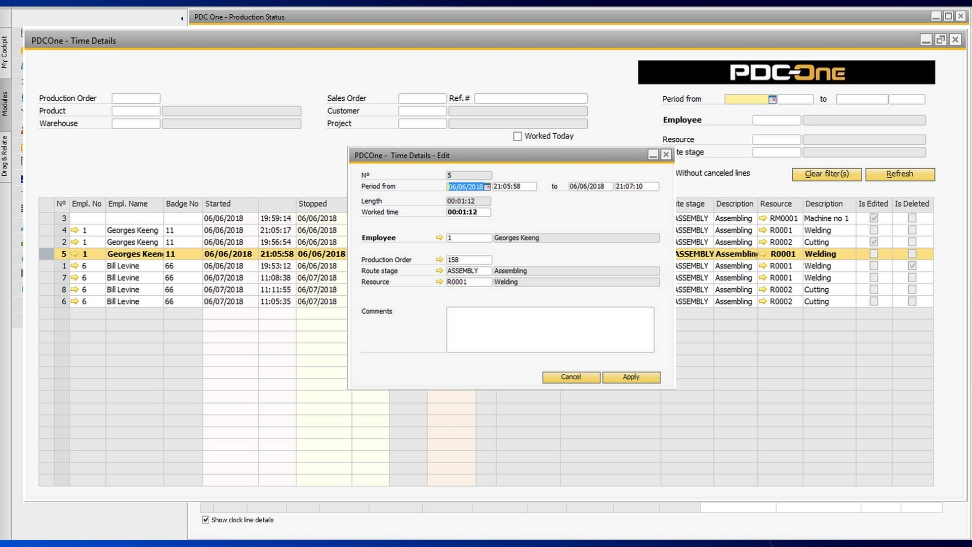 production orders worked hours details sap business one